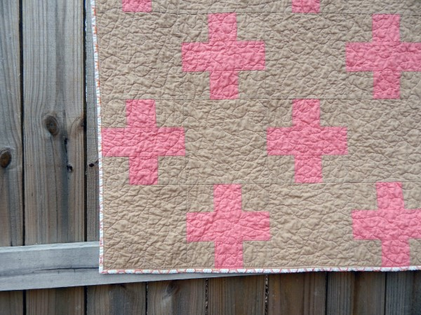 Crib Size Quilt, Super Mod Plus Quilt, coral and tan, Girl quilts, comfy cozy handmade crib bedding