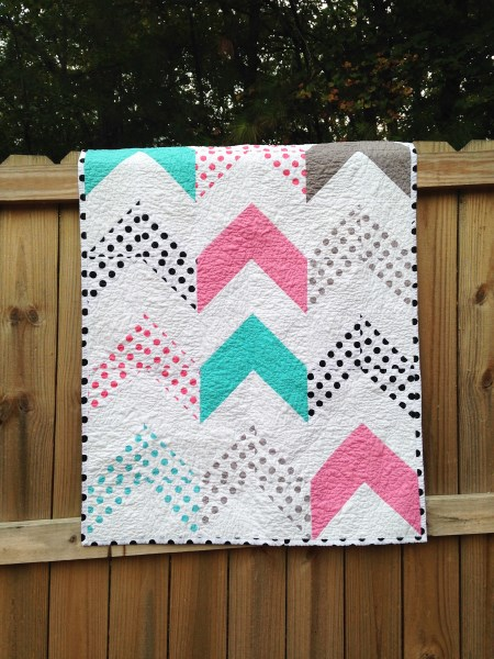 Crib Size Quilt, Follow Your Arrow, Trendy, natural ingredients, gray navy aqua, a modern quilt for girls