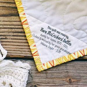 Triangle Corner Quilt Label - Custom and Personalized Just For You