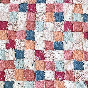 Clementine Rag Quilt - Large Throw - READY TO SHIP - Quilts for Sale - corals, blues and