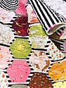 Meander Hexie Quilt, Twin Size, hexagons, stripes, novelty prints, READY TO SHIP