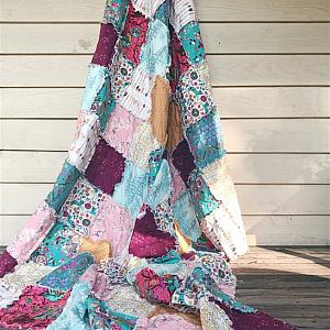 RAG QUILT - Bohemian - Scrappy Quilt - Handmade Just for You