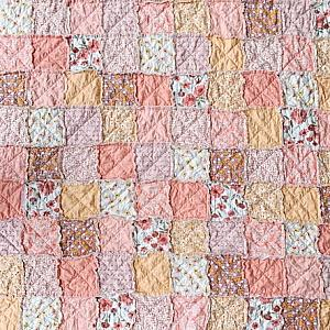 Large Throw Rag Quilt, Marmalade, comfy cozy handmade bedding, Granny Chic in Modern Fabrics, READY TO SHIP