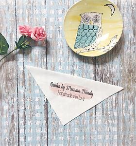 Corner labels, Peach Smudge Quilt Labels, FOR THE CORNER of your quilt