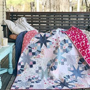 Bad Girl Quilt, Lap Size in Linen Blues, READY TO SHIP - quilts for sale