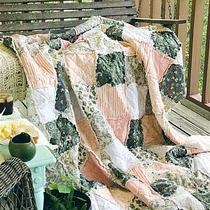 Rag Quilt, YOU CHOOSE SIZE (crib, toddler, twin, throw, full queen or king, Peachy Keen