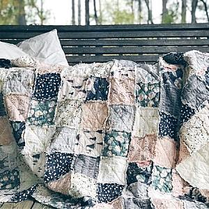 Large Throw Rag Quilt, Sparkler Fusion, comfy cozy handmade bedding, Granny Chic in Modern Fabrics, READY TO SHIP