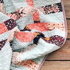 Plum and Coral String Quilt, Crib Size