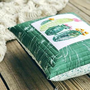Embroidered Cactus Pillow - Granny Chic Home Decor - Cushion - Throw Pillow - READY TO SHIP