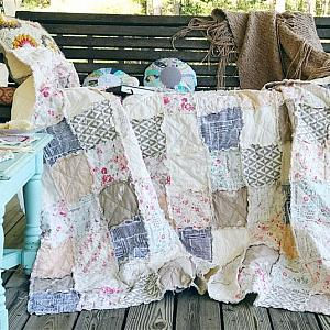 CAPSULE LE VINTAGE Rag Quilt- Choose Any Size - baby crib, queen, king and more - soft dreamy pale colors