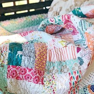 Basketweave Quilt - orange, turquoise, aqua, low volume and mint fabrics, Throw Size, READY TO SHIP - quilts for sale