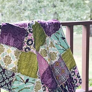 Lap / Throw Rag Quilt, purple, peach and aqua and green, comfy cozy handmade bedding, Granny Chic in Modern Fabrics, READY TO SHIP
