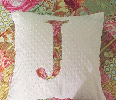 Ampersand or Initial Minky Dot pillow SHAM, 18x18 inches, plush
