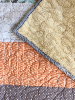 Strippy Crib Quilt, Carrot, Plush for baby, Granny Chic in modern fabrics baby bedding, READY TO SHIP
